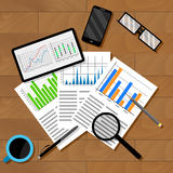 Economic analytics of infographics. Analyzing report chart and graphics. Vector illustration Royalty Free Stock Photo