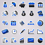 Economic blue stickers. Icons for web design.  Economic blue stickers Stock Images
