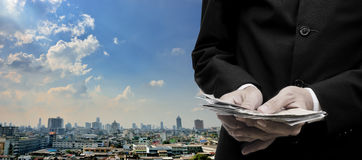 Economic capital injection concept. Businessman invest in capital economic stock photography