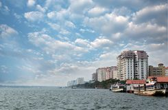 Economic capital of kerala - Kochi's skyline. Economic capital of indian state of kerala - Kochi's skyline facing sea. Also called Cochin, Kochi is fast becoming Royalty Free Stock Image