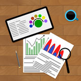 Economic chart financial. Vector finance infochart information illustration Stock Images