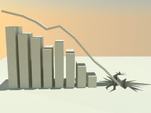 Economic Collapse 3. A 3d rendered bar graph showing continual decline until the line crashes through the floor Royalty Free Stock Images
