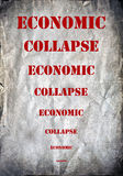 Economic collapse letters on a grunge postcard Stock Photos