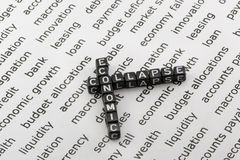 Economic collapse. In the words background Royalty Free Stock Photo