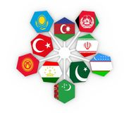 Economic Cooperation Organisation members. The Economic Cooperation Organisation or ECO - political and economic organization of ten countries. Union members Royalty Free Stock Photography