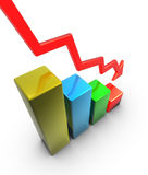 Economic crisis. In the table below the arrow Stock Photo