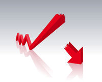 Economic crisis. Red diagram with symbolic of economic crisis Royalty Free Stock Image
