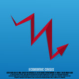 Economic Crisis Arrow With Text. And Shadow Royalty Free Stock Photos