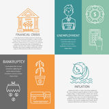 Economic crisis banner. Vector financial bankruptcy, inflation and unemployment banners isolated on color background with place for your text. Economic and Stock Photo