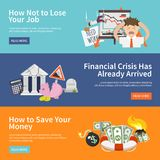 Economic Crisis Banners Stock Image