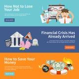 Economic Crisis Banners. Economic crisis horizontal banners set with job loss money save flat elements isolated vector illustration Stock Image