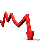 Economic Crisis. Business fall. Economic Crisis. 3d red arrow graph falling and breaking in crack hole. Business fall Stock Photo