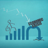 Economic crisis. Business man walk to economic crisis (retro style Royalty Free Stock Image