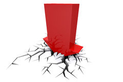 Economic Crisis. Bussiness fall. Economic Crisis. 3d red arrow breaking in crack hole. Business fall Royalty Free Stock Image