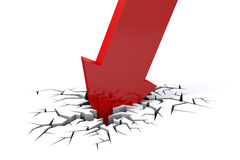 Economic Crisis. Bussiness fall. Economic Crisis. 3d red arrow breaking in crack hole. Business fall Stock Photo
