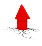 Economic Crisis. Bussiness fall. Economic Crisis. 3d red arrow breaking out crack hole. Business fall Stock Image