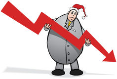 Economic crisis Christmas cartoon character illustration Royalty Free Stock Images