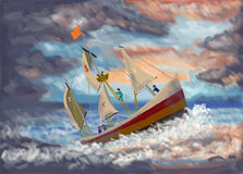 Economic Crisis Concept. Digital Painting Stock Images