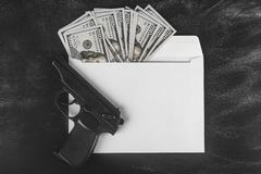 Dollars in an envelope. Dirty money. Exchange rate. Rise and fall prices. Concept of laundering cash. Planning of budget. Banking royalty free stock photo