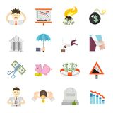 Economic Crisis Flat Icons Stock Photos
