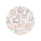 Economic crisis icons. Vector economic and financial crisis icons set  in circle. Financial bankruptcy  and unemployment concepts in linear style isolated on Royalty Free Stock Image