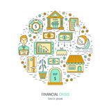 Economic crisis icons. Vector economic and financial crisis icons set  in circle. Financial bankruptcy  and unemployment concepts in linear style isolated on Royalty Free Stock Photos