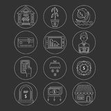 Economic crisis icons. Vector economic and financial crisis icons set  in linear style.  Financial bankruptcy  and unemployment concepts isolated on background Stock Image