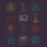 Economic crisis icons. Vector economic and financial crisis icons set  in linear style.  Financial bankruptcy  and unemployment concepts isolated on background Royalty Free Stock Photos