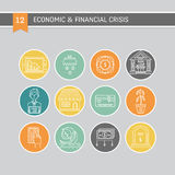 Economic crisis icons. Vector economic and financial crisis icons set  in linear style.  Financial bankruptcy  and unemployment concepts isolated on background Stock Photography