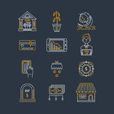 Economic crisis icons. Vector economic and financial crisis icons set  in linear style.  Financial bankruptcy  and unemployment concepts isolated on background Royalty Free Stock Photography