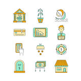 Economic crisis icons. Vector economic and financial crisis icons set  in linear style.  Financial bankruptcy  and unemployment concepts isolated on white Stock Photos