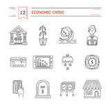 Economic crisis icons. Vector economic and financial crisis icons set  in linear style.  Financial bankruptcy  and unemployment concepts isolated on white Royalty Free Stock Photo