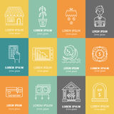 Economic crisis icons. Vector economic and financial crisis icons set  in linear style.  Financial bankruptcy  and unemployment concepts isolated on white Stock Photography