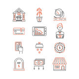 Economic crisis icons. Vector economic and financial crisis icons set  in linear style.  Financial bankruptcy  and unemployment concepts isolated on white Royalty Free Stock Images