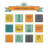 Economic crisis icons. Vector economic and financial crisis icons set  in linear style.  Financial bankruptcy  and unemployment concepts isolated on white Royalty Free Stock Photography