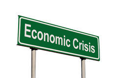Economic Crisis Text Green Road Sign, Concept Metaphor, Isolated Large Detailed Closeup Stock Photos