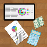 Economic data on screen. Vector presentation economy diagram and research file illustration Royalty Free Stock Photo