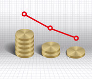 Economic decrease graph gold coins Royalty Free Stock Photography