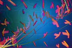 Economic development and the arrow. The meaning of this picture is the rapid development of economy, the audit, and digital indicators Royalty Free Stock Photo