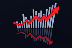 Economic development trend of the arrow. This picture represents the rise and development of the economy Stock Photo