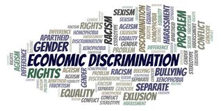Economic Discrimination - type of discrimination - word cloud. Wordcloud made with text only royalty free illustration