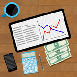 Economic document market. Vector strategy process financial illustration Royalty Free Stock Photo