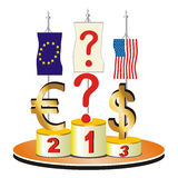 Economic and financial crisis theme. The question is Which currency will be the winner. This vector illustration can be used in economic and financial crisis Stock Images