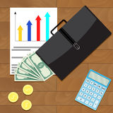 Economic and financial growth of business. Top view concept. Vector economic development and growth, illustration economic recovery and business growth Stock Photo