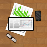 Economic and financial statistics. Research and analyzing graph and chart. Vector illustration Stock Photo