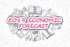 2017 Economic Forecast - Business Concept. 2017 Economic Forecast - Sketch Business Illustration. Magenta Hand Drawn Text 2017 Economic Forecast Surrounded by Vector Illustration