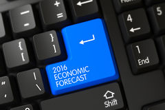 2016 Economic Forecast CloseUp of Blue Keyboard Button. 3D. Royalty Free Stock Images
