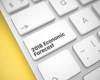 2018 Economic Forecast - Inscription on the White Keyboard Keypa. 2018 Economic Forecast Keypad on the Modern Laptop Keyboard. Laptop Keyboard Keypad Showing the Stock Photo