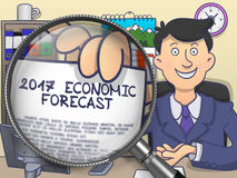 2017 Economic Forecast through Lens. Doodle Concept. Man Holding a Paper with Inscription 2017 Economic Forecast Concept through Magnifying Glass. Closeup View Royalty Free Illustration