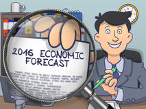 2016 Economic Forecast through Magnifying Glass. Doodle Style. 2016 Economic Forecast on Paper in Man's Hand to Illustrate a Business Concept. Closeup through Royalty Free Stock Image